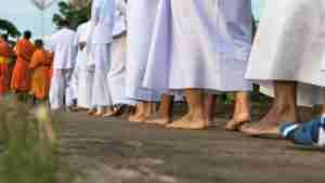 Walking mindfulness meditation by Buddhist monks
