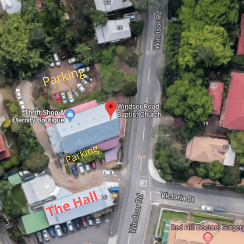 Satellite image of Thomas Leitch Hall, Windsor Rd showing parking for workshops with Sarah Tuckett Psychotherapy and Counselling North Brisbane